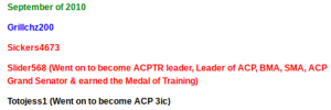 In September of 2010, ACP Legend and former leader Slider graduated from ACPTR