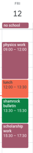 An example of how I time block my life and schedule (and maybe a little bit on insight as to what my life is like on a no school day!)